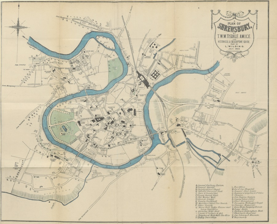 1885 TISDALE map of shrewsbury