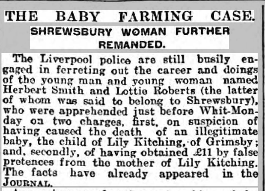 baby trafficking Wellington Journal - Saturday 01 June 1907