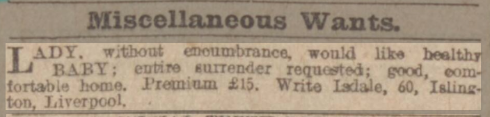 baby wanted advert Leeds Mercury - Thursday 28 March 1907