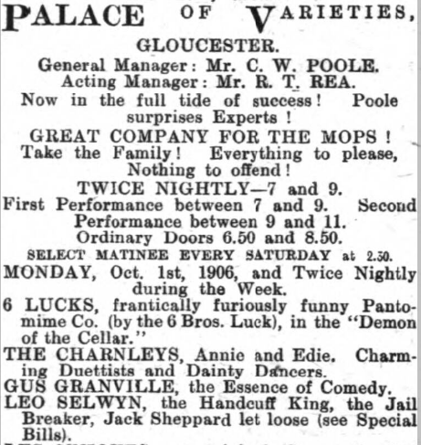 Gloucester Journal - Saturday 29 September 1906 LEO ADVERT