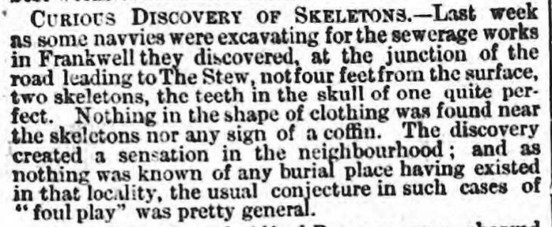 frankwell skeletons Wellington Journal - Saturday 16 November 1867 .