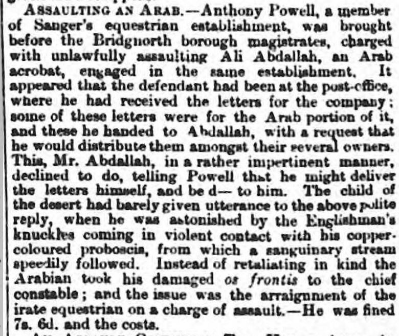 Arab assault Wellington Journal - Saturday 16 August 1862