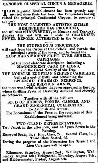 sangers advert Eddowes's Journal, and General Advertiser for Shropshire, and the Principality of Wales - Wednesday 30 July 1862