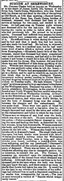 suicide Wellington Journal - Saturday 10 August 1895