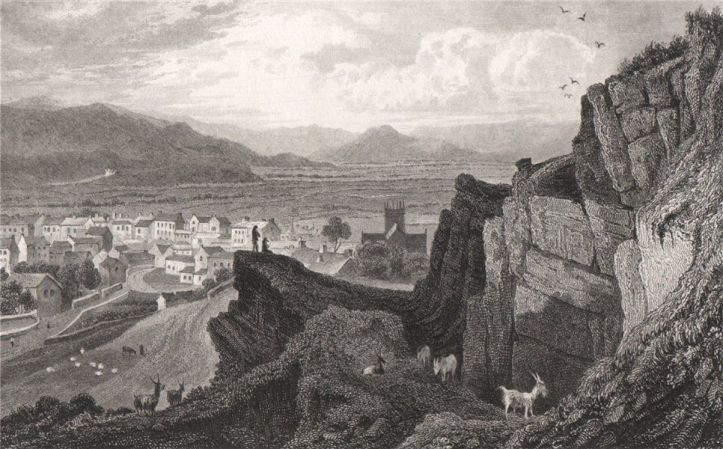 Machynlleth-Montgomeryshire-Wales-by-Henry-Gastineau-1835-old
