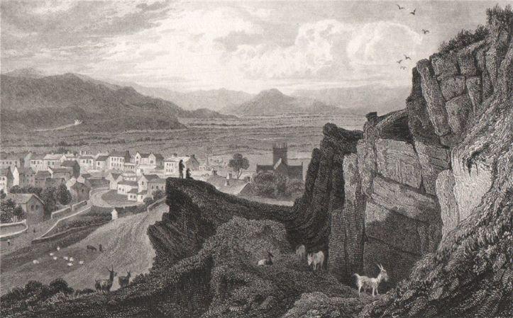 Machynlleth-Montgomeryshire-Wales-by-Henry-Gastineau-1835-old
