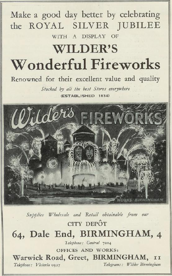 Wilders Advert - 1935 Retail - Wilders Wonderful Fireworks (Royal Silver Jubilee)