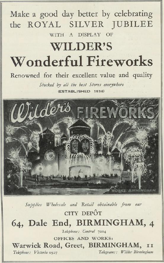 Wilders Advert - 1935 Retail - Wilders Wonderful Fireworks (Royal Silver Jubilee)