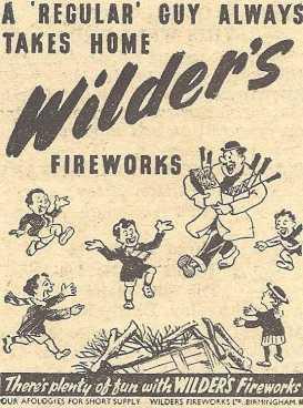 Wilders Advert - 1947 Retail - A Regular Guy Always Takes Home Wilders Fireworks