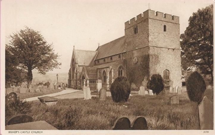 8762-Shropshire-Sepia-Postcard-Bishops-Castle-Church