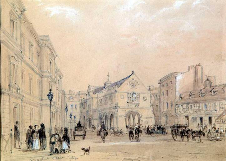 Market Square, Shrewsbury, c 1840s-1850s Pencil and wash Artist C W Radclyffe Shrewsbury Museums Service (SHYMS FA19910444)